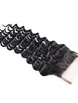 Недорогие -Бразильские волосы 4x4 Закрытие / Бесплатно Part Волнистый Бесплатный Часть Швейцарское кружево Не подвергавшиеся окрашиванию Жен. Шелковистость / Легко туалетный / Sexy Lady / Черный