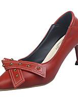 abordables -Femme Polyuréthane Hiver Minimalisme Chaussures à Talons Kitten Heel Bout pointu Noir / Beige / Vin