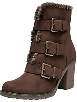 Недорогие -Жен. Замша Наступила зима На каждый день / Милая Ботинки На толстом каблуке Круглый носок Сапоги до середины икры Пряжки Кофейный / Коричневый