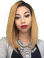 Недорогие -человеческие волосы Remy Полностью ленточные Лента спереди Парик Бразильские волосы Прямой Естественный прямой Блондинка Парик Стрижка боб Ассиметричная стрижка 130% 150% 180% Плотность волос