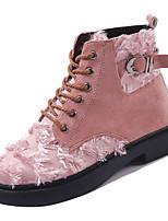 Недорогие -Жен. Полиуретан Зима На каждый день Ботинки На низком каблуке Круглый носок Сапоги до середины икры Черный / Бежевый / Розовый