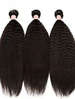 Недорогие -3 Связки Бразильские волосы Естественные прямые Натуральные волосы Необработанные натуральные волосы Человека ткет Волосы Плетение 10inch-24inch Нейтральный Естественный цвет Ткет человеческих волос