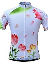 Недорогие -JESOCYCLING Жен. С короткими рукавами Велокофты - Белый Велоспорт Джерси Верхняя часть Быстровысыхающий Виды спорта 100% полиэстер Горные велосипеды Шоссейные велосипеды Одежда / Эластичная