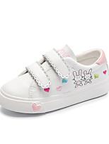 Недорогие -Девочки Обувь Микроволокно Весна & осень Вулканизованная обувь Кеды На липучках для Дети Белый / Розовый