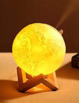 Недорогие -1шт MOON 3D ночной свет Триколор USB Диммируемая / Увлажненный / Украшение 5 V