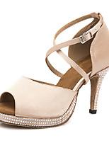 Недорогие -Жен. Обувь для латины Сатин Сандалии / На каблуках Кристаллы / Блеск Тонкий высокий каблук Танцевальная обувь Телесный