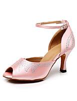 Недорогие -Жен. Обувь для латины Сатин Сандалии Crystal / Rhinestone Тонкий высокий каблук Танцевальная обувь Розовый
