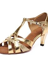 Недорогие -Жен. Обувь для латины Синтетика На каблуках Кубинский каблук Персонализируемая Танцевальная обувь Золотой / Оранжевый