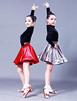 abordables -Danse latine Tenue Fille Utilisation Satin élastique / Pleuche Combinaison Manches Longues Jupes / Haut