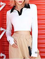 Недорогие -женская спортивная узкая футболка - цвет блока воротник рубашки