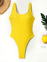 baratos -Mulheres Amarelo Verde Tropa Cavado Maiô Roupa de Banho - Sólido M L XL