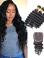 Недорогие -3 комплекта с закрытием Бразильские волосы Индийские волосы Крупные кудри Не подвергавшиеся окрашиванию человеческие волосы Remy Подарки Косплей Костюмы Человека ткет Волосы 8-20 дюймовый