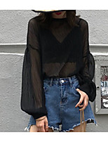 Недорогие -Жен. Кружева Блуза Уличный стиль Однотонный
