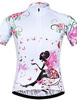 Недорогие -JESOCYCLING Жен. С короткими рукавами Велокофты - Белый Велоспорт Джерси Верхняя часть, Быстровысыхающий 100% полиэстер / Эластичная