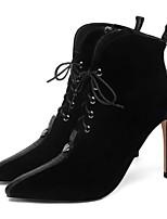 Недорогие -Жен. Наппа Leather / Овчина Зима Милая / Минимализм Обувь на каблуках На шпильке Заостренный носок Ботинки Черный