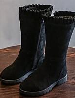 Недорогие -Девочки Обувь Синтетика Наступила зима Модная обувь Ботинки Молнии для Дети / Для подростков Черный / Винный / Сапоги до середины икры
