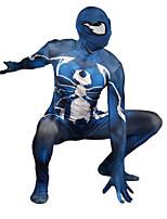 abordables -Collants Superhéros Costume Zentai Costumes de Cosplay Bleu Imprimé Collant / Combinaison Costume Zentai Lycra Homme et Femme Noël Halloween Nouvel an