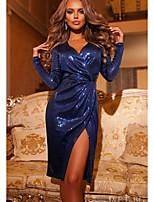Недорогие -Жен. Элегантный стиль Брюки - Однотонный Пайетки / С разрезами Синий / Для вечеринок / Глубокий V-образный вырез / Сексуальные платья