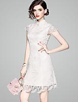 Недорогие -Жен. Винтаж / Элегантный стиль Оболочка Платье - Однотонный, С принтом Завышенная Вырез под горло Выше колена