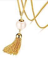 Недорогие -Жен. Бусины длинное ожерелье - Жемчуг, нержавеющий Золотой 66+5 cm Ожерелье Бижутерия 1 комплект Назначение Свадьба, Повседневные