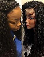 Недорогие -Натуральные волосы Лента спереди Парик Стрижка боб Короткий Боб Rihanna стиль Бразильские волосы Кудрявый Черный Парик 130% Плотность волос / Природные волосы / 100% ручная работа / Природные волосы