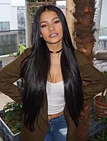 Недорогие -человеческие волосы Remy 100% ручная работа Полностью ленточные Парик Бразильские волосы Естественный прямой Шелковисто-прямые Черный Парик Ассиметричная стрижка 130% 150% 180% Плотность волос