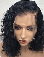 Недорогие -человеческие волосы Remy Лента спереди Парик Бразильские волосы Кудрявый Глубокий курчавый Черный Парик Стрижка боб 130% Плотность волос / Природные волосы / Парик в афро-американском стиле