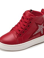Недорогие -Девочки Обувь Кожа Зима Удобная обувь Кеды для Для подростков Черный / Красный / Розовый