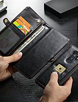 abordables -CaseMe Coque Pour Samsung Galaxy S9 Plus Portefeuille / Porte Carte / Antichoc Coque Intégrale Couleur Pleine Dur faux cuir pour S9 Plus