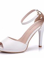 abordables -Femme Polyuréthane Printemps été Doux Chaussures de mariage Talon Aiguille Bout ouvert Boucle Blanc / Mariage