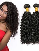 Недорогие -3 Связки Малазийские волосы Kinky Curly Натуральные волосы Wig Accessories Человека ткет Волосы Удлинитель 8-28 дюймовый Естественный цвет Ткет человеческих волос Машинное плетение