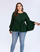 Недорогие -женская футболка размера размера - сплошной цветной шею