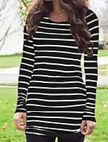 Недорогие -женская футболка - полосатый шею