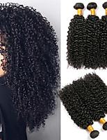 Недорогие -3 Связки Бразильские волосы Евро-Азиатские волосы Кудрявый Kinky Curly 8A Натуральные волосы Необработанные натуральные волосы Подарки Фотография Косплей Костюмы 8-28 дюймовый Естественный цвет