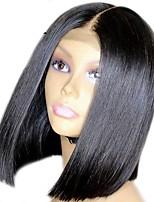 abordables -Perruque Cheveux Naturel Rémy 360 frontal Cheveux Brésiliens Droit Naturel Coupe Asymétrique 130% Doux Soirée Facile à transporter Confortable Noir Naturel Femme Court Perruque Naturelle Dentelle