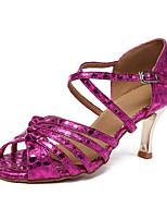 Недорогие -Жен. Обувь для латины Синтетика На каблуках Кубинский каблук Персонализируемая Танцевальная обувь Лиловый