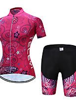 Недорогие -TELEYI С короткими рукавами Велокофты и велошорты - Розовый с красным Велоспорт Дышащий, Быстровысыхающий Цветочные / ботанический / Эластичная
