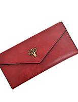 Недорогие -Жен. Мешки PU Бумажники Пуговицы Сплошной цвет Красный / Розовый / Коричневый