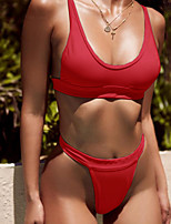 Недорогие -Жен. Классический Оранжевый Красный Бежевый Смелые Бикини Купальники - Однотонный S M L