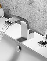 abordables -Robinet lavabo - Jet pluie / Design nouveau Chrome Diffusion large Mitigeur deux trousBath Taps