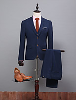 abordables -Couleur Pleine Coupe Standard Polyester Costume - En Pointe Droit 2 boutons