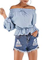 Недорогие -женская хлопковая блузка - горошек с плеча