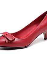 Недорогие -Жен. Наппа Leather Весна Милая / Минимализм Обувь на каблуках На толстом каблуке Заостренный носок Бант Черный / Красный