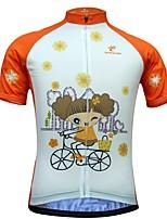Недорогие -JESOCYCLING Жен. С короткими рукавами Велокофты - Белый Мультипликация Велоспорт Джерси Верхняя часть, Быстровысыхающий 100% полиэстер / Эластичная