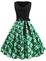 cheap -Women's A-Line Dress Knee Length Dress - Sleeveless Print Lace up Print Summer Vintage Party Slim 2020 Green S M L XL XXL