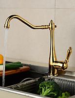 abordables -Robinet lavabo - Séparé Doré Set de centre Mitigeur un trouBath Taps