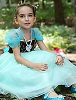 cheap -Anna Dress Girls' Movie Cosplay Cosplay Halloween Light Blue Dress Halloween Carnival Masquerade Tulle Cotton