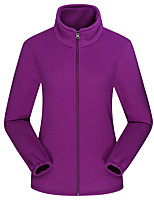 cheap -Women's Hiking Fleece Jacket Winter Outdoor Solid Color Thermal Warm Windproof Fleece Lining Breathable Winter Fleece Jacket Fleece Full Length Visible Zipper Fishing Traveling Winter Sports Black