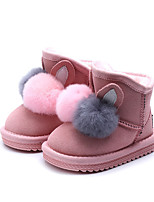 Недорогие -Девочки Обувь Кожа Наступила зима Зимние сапоги Ботинки Пом пом для Дети Черный / Серый / Розовый