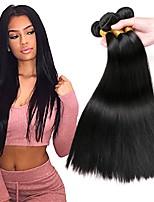 Недорогие -3 Связки Малазийские волосы Прямой 8A Натуральные волосы Головные уборы Человека ткет Волосы Удлинитель 8-28 дюймовый Черный Ткет человеческих волос Машинное плетение Мягкость Шелковистость Гладкие